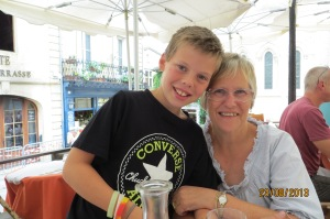 Oliver and granny at lunch time in St Emillion.