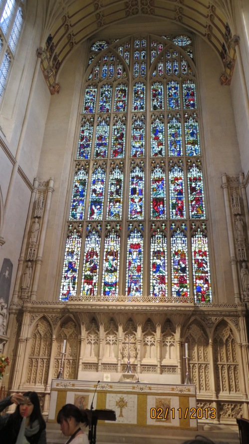 Stained glass window inside Bath Abbey